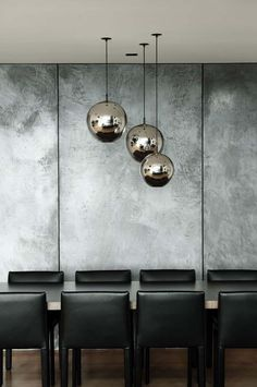Concrete walls and pendant lights