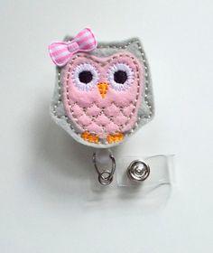 Pink and Gray Owl with Bow - Retractable ID Felt Badge Holder - Cute Badge Reel - Nurses Badge Holder - Nurse Badge - Teacher Badge