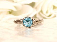 Vintage Style Blue Topaz Sterling Filigree by LadyRoseVintageJewel