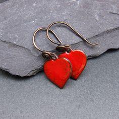 Red Heart Torch Enamelled Earrings Rustic Red by lollipopbeads
