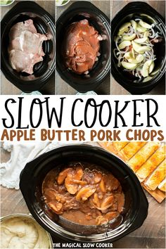 Pork chops smothered with apple butter, granny smith apples, apple cider vinegar and onions and all made in the slow cooker. Wonderful fall dinner along with mashed potatoes. Slow Cooker Apples, Crock Pot Slow Cooker, Slow Cooker Recipes, Cooking Recipes, Crockpot Recipes, Cider Pork Chops, Apple Pork Chops, Granny Smith, Slow Cooking