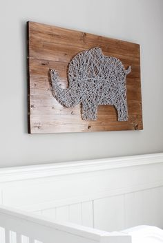 baby diy This is an awesome project! This technique could easily be used for any type of string art, although the elephant is so cute! String Art Diy, String Art Tutorials, Baby Boy Rooms, Baby Boy Nurseries, Baby Room, Neutral Nurseries, Baby Decoration, Baby Zimmer, Nursery Inspiration