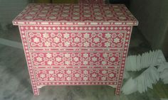 Surrealz Mother of pearl bone inlay floral sideboard