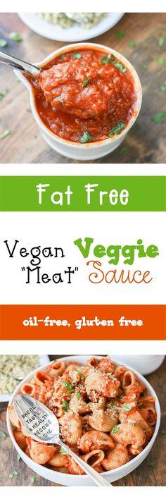 "Vegan Veggie Filled ""Meat"" Sauce and Pasta | www.veggiesdontbite.com |"