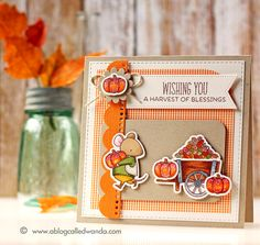 Wanda Guess: A Blog Called Wanda –  My Favorite Things Stamps - Card Contest! Fall Cards! - 9/17/15. (MFT stamps/dies-Harvest Mouse, Sunflower Sweetheart; dies-Blueprints 14, Fishtail Flag STAX).  (Pin#1: Fall/... Pin+: Animals...).