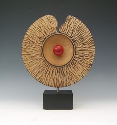Hi all this is a sculpture the basis of which comes from a platter/wide rime bowl. It is 300 mm textured wide rim bowl/platter, textured, . Metal Art Sculpture, Modern Sculpture, Sculpture Ideas, Wood Turning Lathe, Wood Turning Projects, Ceramic Design, Ceramic Art, Wooden Vase, Small Sculptures