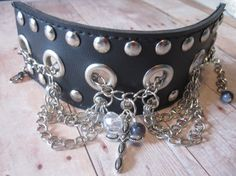 Upcycled Belt to Studded and Chained Bracelet by CompletelyCrafty, $12.00