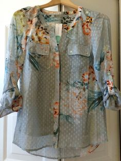 Stitch Fix- Daniel Rainn Ashlee Floral Print Swiss Dot Blouse - available in Petite sizes!