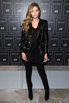 Gigi Hadid wearing Balmain at BALMAIN X H&M Collection Launch Event (October 2015). #balmain