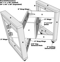 Saturday Morning Workshop: Folding Mobile Workbench fold flat against the frame rails (B). Flip the frame over and repeat the process with the folding support panels (F), using a plywood scrap against the support arms Mobile Workbench, Folding Workbench, Workbench Plans, Woodworking Workbench, Easy Woodworking Projects, Woodworking Furniture, Diy Wood Projects, Woodworking Tools, Diy Furniture