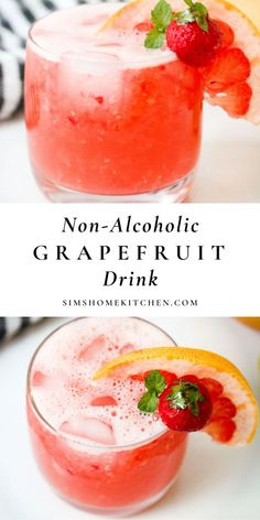 If you're looking for a refreshing tropical non-alcoholic grapefruit drink then this is the recipe for you! #drink #grapefruitcocktail #tropicaldrink @simshomekitchen | simshomekitchen.com Easy Drink Recipes, Yummy Drinks, Brunch Recipes, Healthy Drinks, Real Food Recipes, Cooking Recipes, Healthy Recipes, Cold Drinks, Summer Recipes