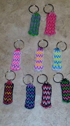 Custom Rainbow Loom Rubber band Keychain or Backpack Charm by JustMeAZ