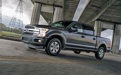 Lataa kuva Ford F-150, 2018, Lava-auto, harmaa F-150, Amerikkalaisten autojen, ratsastus sateessa, Ford