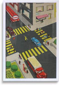 Rare 1950s promotional 'road safety' poster, Esso (1 of 6)