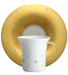 Manufacture de monaco tableware porcelain coffee cup saucer samark and gold crystals | Harlequin London