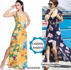 A gente se inspira nas celebridades! Vanessa Hudgens apostou no vestido floral com fendas...olha só a peça da Macksonn: