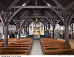 Interior view of the nave of the Church of the Annunciation, Brighton, showing timber pillars and roof construction. Date: 09 Oct 2007 Photographer: James O Davies South East England, Historical Images, Brighton, Construction, Interior, Building, Indoor, Interiors