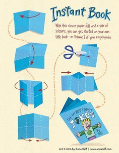 fun activity to get kids creating by making their own zine, or small magazine. Illustrator Anna Raff created a graphic to show how to simply make one; all that is needed is a sheet of paper and an idea!