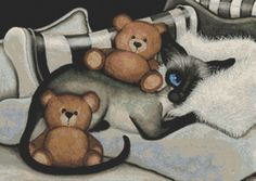 Modern cat cross stitch kit by AmyLyn Bihrle by GeckoRouge on Etsy, $83.30