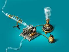 Dribbble - Hydroelectric generator by Alex Volkov