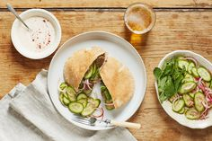 Lamb Meatball Pitas with Spiced Yogurt & Pickled Cucumber | Marley Spoon
