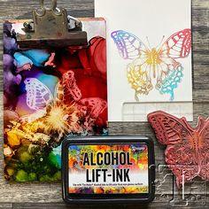 Alcohol Ink Tiles, Alcohol Ink Crafts, Alcohol Ink Painting, Alcohol Inks, Tim Holtz Stamps, Ink Stamps, Tim Holtz Blog, Vintage Cigar Box, Stencil Printing