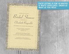 Gold Vintage Burlap Bridal Shower Invitations