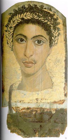 Portraits du Fayoum — Wikipédia - Portrait de jeune homme (fonds Gayet) trouvé à Antinoopolis en 1905/1906, vendu aux musées de Berlin en 1907 (Inv.-Nr. Berlin 17900)