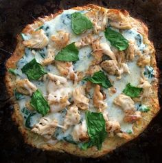 Keto Grilled Chicken and Spinach Pizza