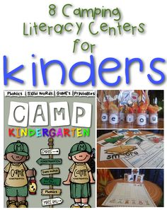 Camp Kindergarten: 8 camping themed literacy centers for kindergarten! Super fun camping ideas for your classroom!