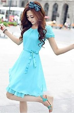 Chiffon Short Sleeve Dress
