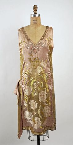 1926 silk dress Callot Soeurs | pink & gold / green