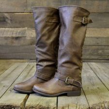 Wake Forest Brown Red Zipper Knee High Boots