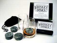 Whiskey Disks Tasting Set for drinking chilled whiskey. Great father's day gift!