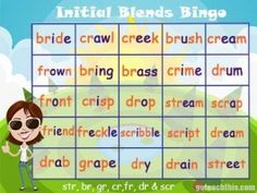 Initial Blends Bingo- br, gr, cr, fr, dr, str Sight Word Games, Sight Words, Phonics Games, Reading Games, Early Reading, Bingo, Game Design, Spelling, Initials
