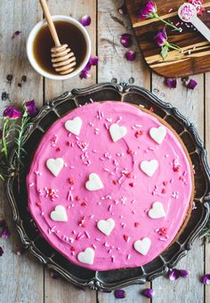 Rosemary & Honey Cake with Beet-Dyed Cream Cheese Icing - Butterlust
