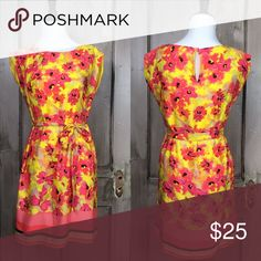 "Loft Dress Nice splash of color in pink, coral, yellow and black in this flowered sheath with tye at waist and pullover head style and keyhole back. Size 2 Bust 36"" Waist 35"" Hip 37"" Length 33 1/2""  100% Polyester Machine Wash Cold Line Dry Flawless Unless Otherwise Indicated. loft Dresses Midi"