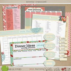 Menu Planning Kitchen Organizer & Grocery List by sahlink on Etsy Weekly Meal Planner, Weekly Menu, Kitchen Organization, Storage Organization, Organizing Ideas, Organising, Domestic Goddess, Grocery Lists, Meals For The Week