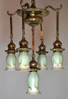 This is just plain gorgeous! ~ Original Quezal Fixture ~ The Quezal Art Glass and Decorating Company was founded on March 1902 by Martin Bach who studied under Tiffany for almost a decade. Chandelier, Beautiful Lamp, Victorian Lamps, Vintage Lighting, Vintage Industrial Lighting, Oil Lamps, Art Deco Lamps, Lamp Light, Lights