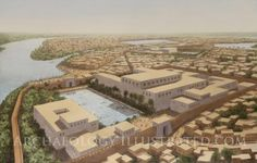 Reconstruction of Avaris in the Late Bronze Age, the city in the Nile Delta where the Israelites lived as slaves until the Exodus. The illustration is based on excavations by the Austrian Archaeological Institute.