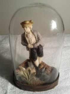 Antique Victorian Valentine Wax Man Figure Dog Under Glass Dome RARE | eBay