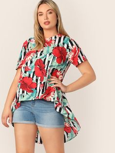SHEIN Plus Asymmetrical Hem Tropical & Stripe Print Top #fashion #fashionista #clothes #dress #shein ,women's plus size clothing including dresses, tops, bottoms, and lingerie. plus size clothing plus size dresses plus size fashion plus size clothes affordable plus size clothing trendy plus size clothing urban plus size clothing cute trendy plus size clothes plus size plus size womens clothing trendy plus size clothing plus size clothing stores plus size maxi dresses plus size stores cheap…