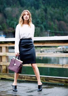 business chic in a leather pencil skirt, embroidered blouse + mules #streetstyle #forever21