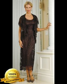 Soulmates D8787 Crochet Beaded Silk Lace Ankle Length 2 pc Jacket Dress (Missy, Plus Sizes) - Mother of the Wedding