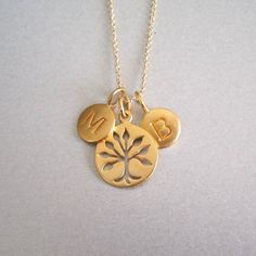 Gold+Initial+&+Tree+of+Life+Necklace++by+tangerinejewelryshop,+$85.00