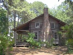peaceful old cabin in the woods at Heritage Village in Pinellas County, FL Old Cabins, Log Cabin Homes, Cabins And Cottages, Ideas De Cabina, Cabin In The Woods, Little Cabin, Cozy Cabin, My Dream Home, Dream Homes