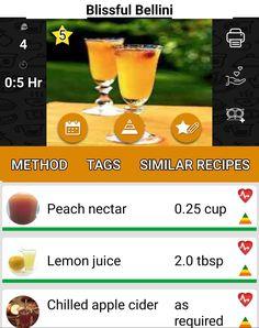 Veggie Party Food, Juice 2, Bellini, Alcoholic Drinks, Veggies, Peach, Apple, Recipes, Apple Fruit
