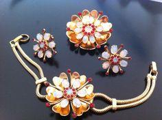 Vintage Coro Moonstone Moonglow Rhinestone Demi Parure Bracelet Pin Earrings Set #Coro