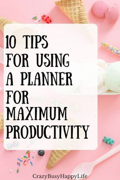 Ten tips for using a day planner to maximize your productivity and control time management. If you are struggeling with getting stuff done, try some of these planner tips. Daily planner, life planner, the happy planner, a5 planner, bullet journal, planner addict