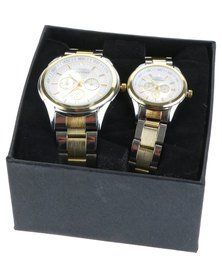 Digitime His & Hers Two Tone Chrono Watch Set Silver/Gold